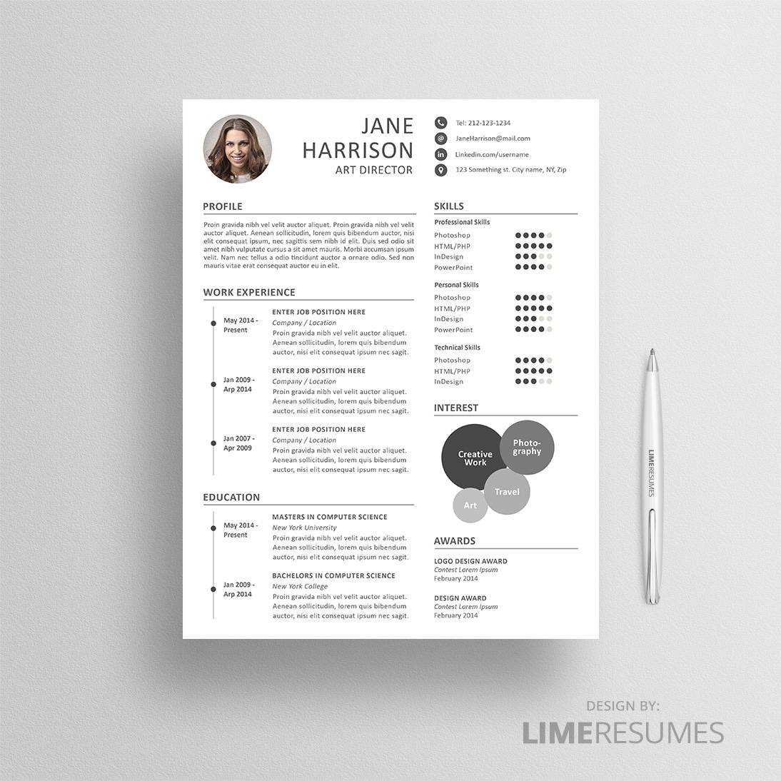 Creative resume template for Word
