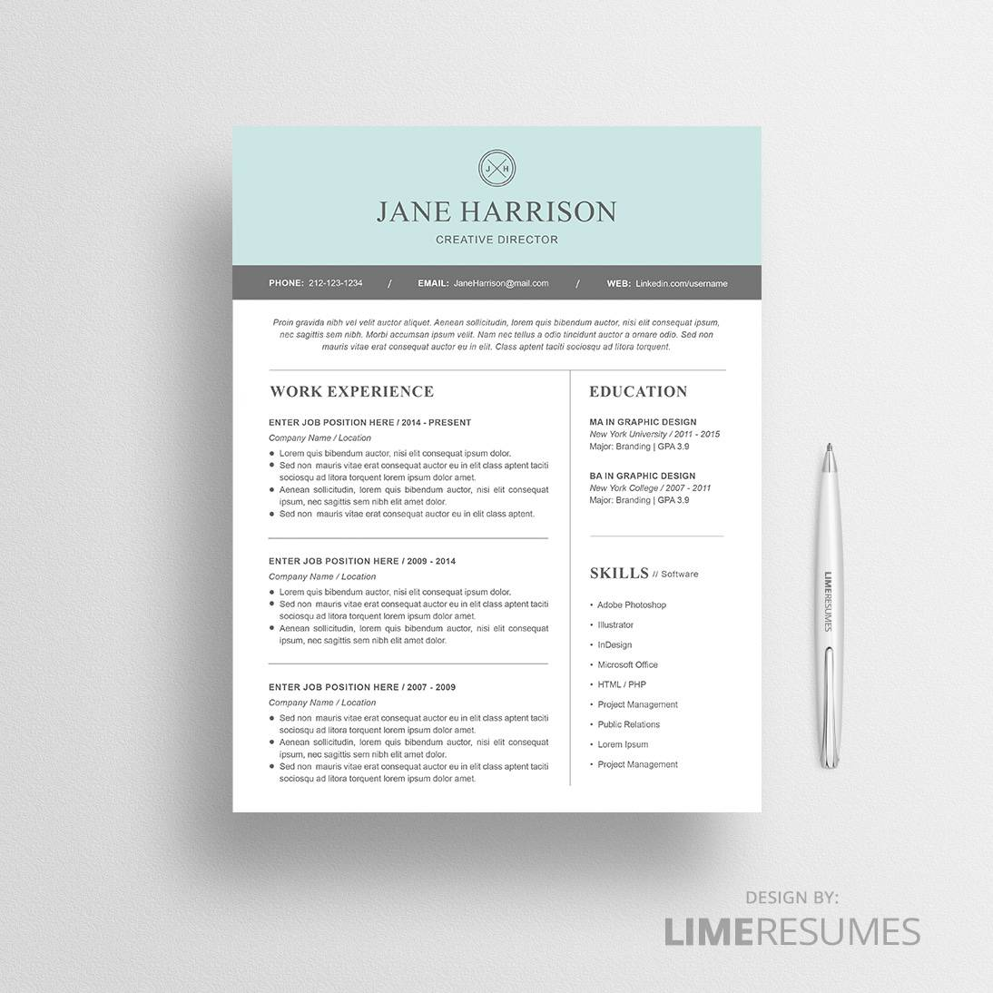 Modern resume template for microsoft word limeresumes for Free reume templates