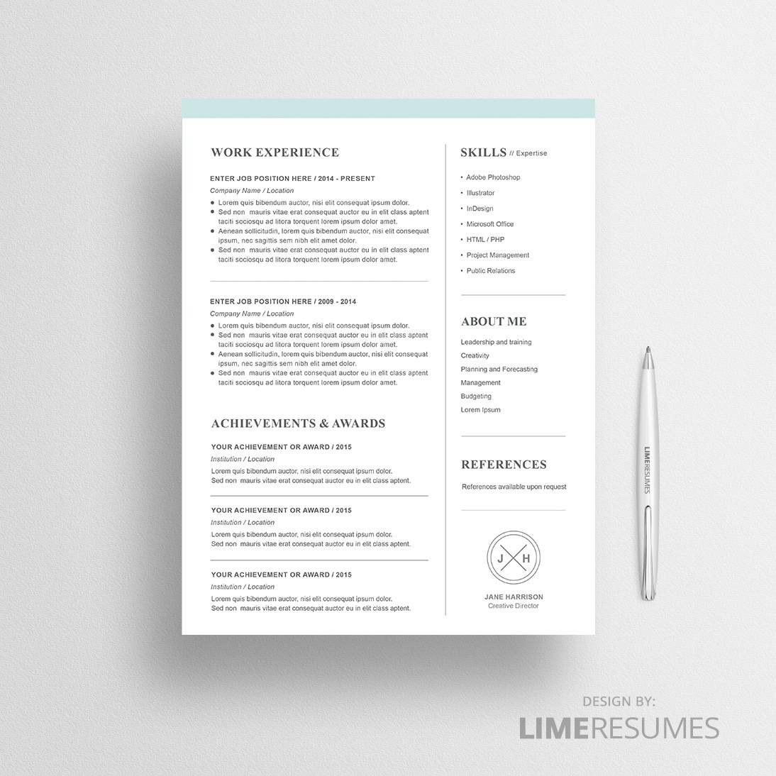 Modern 2 page resume template for Word