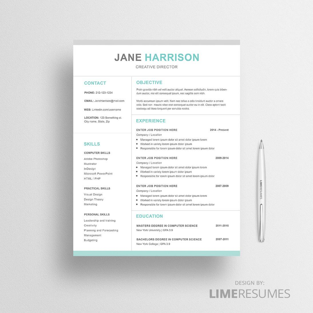 Professional resume template MS Word and Apple Pages