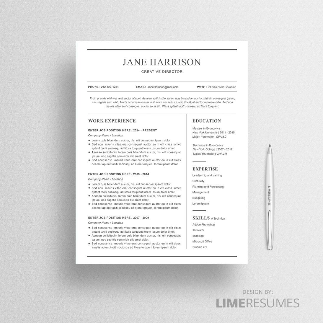 Buy Resume Templates   Premium Professional Resume Templates   LimeResumes  Professional Resume Templates Microsoft Word