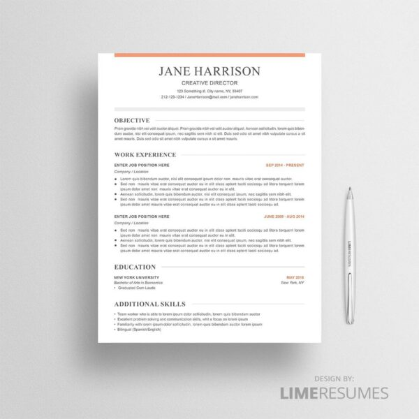 CV template and cover letter with reference page