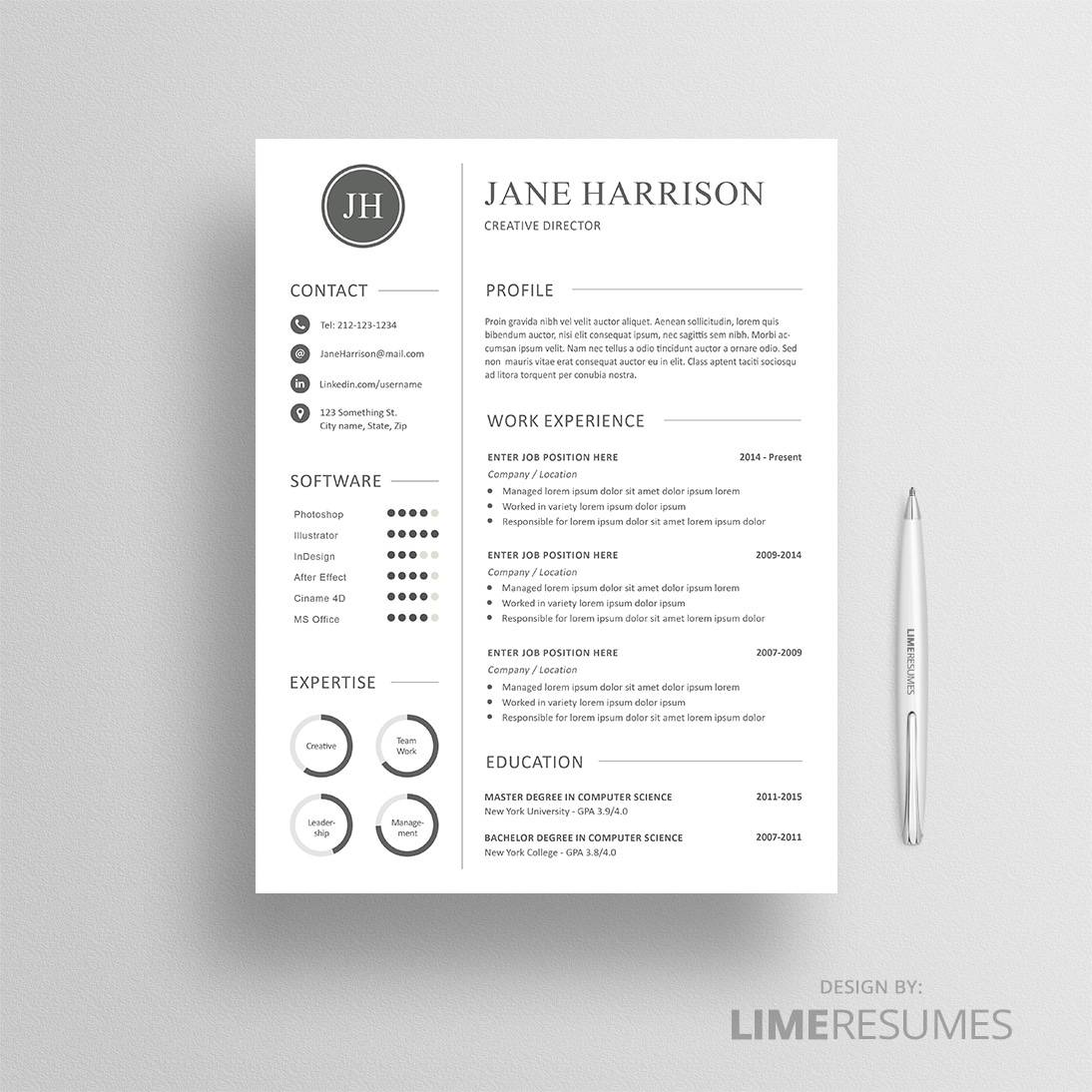 Professional cv template matching cover letter reference page resume template with charts spiritdancerdesigns Choice Image