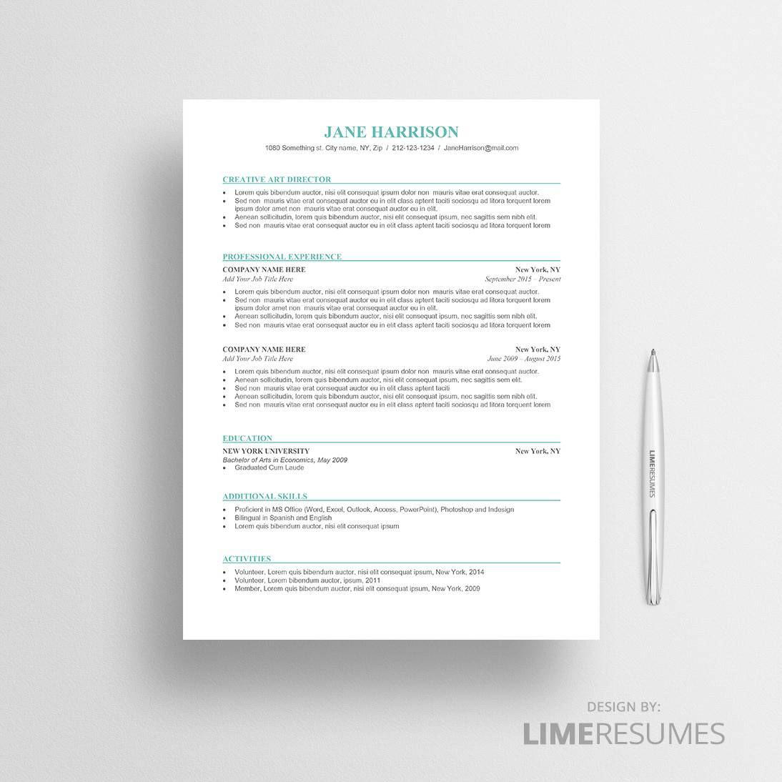 Cv Template For Microsoft Word  Professional Cv Template  Limeresumes