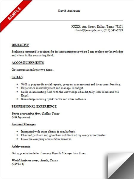 Captivating Accounting Resume Sample Regard To Accounting Objective Resume