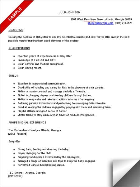 Captivating Babysitter Resume Sample And Sample Babysitter Resume