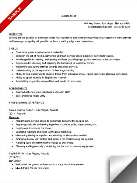 bartender resume objective april onthemarch co
