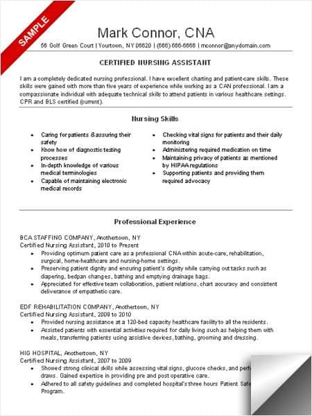 Cna Resume Sample Myjobsearch Com