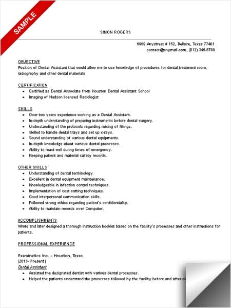 Example resume for dental assistant