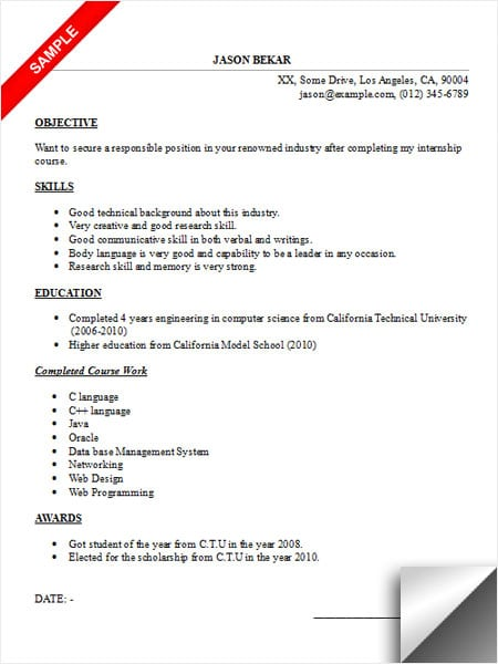 internship resume sample limeresumes. Black Bedroom Furniture Sets. Home Design Ideas
