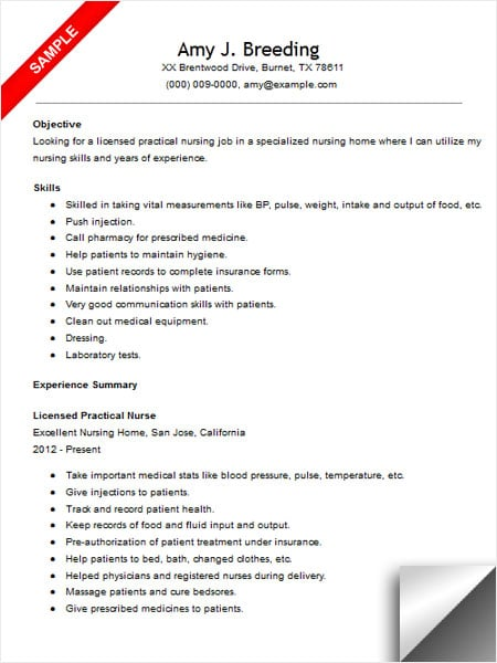 Licensed Practical Nurse Resume Sample  Limeresumes