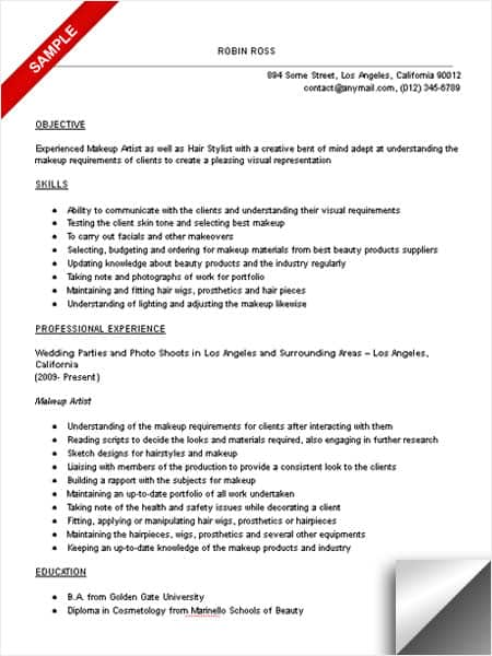 Superbe Makeup Artist Resume Sample