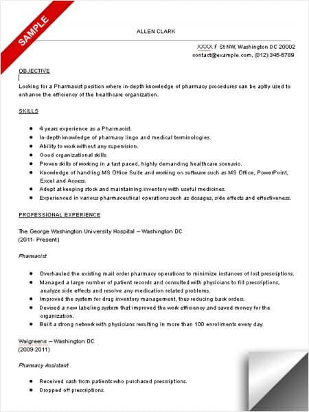 Pharmacist Resume Examples Pharmacist Resume Sample  Limeresumes