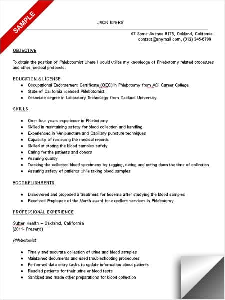 Delightful Phlebotomist Resume Sample Within Sample Phlebotomist Resume