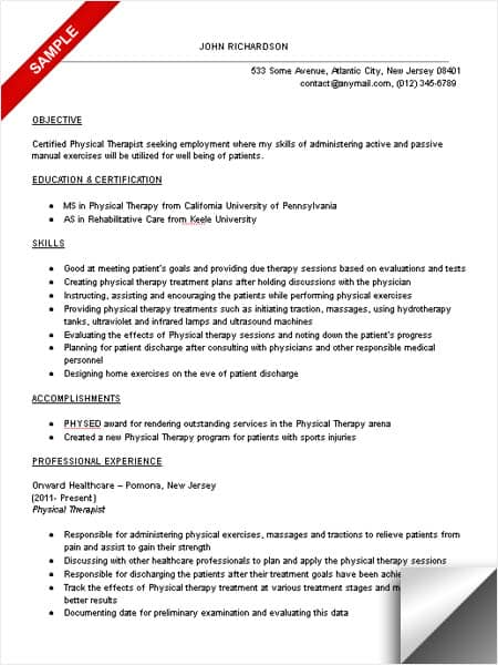 Attractive Physical Therapist Resume Sample