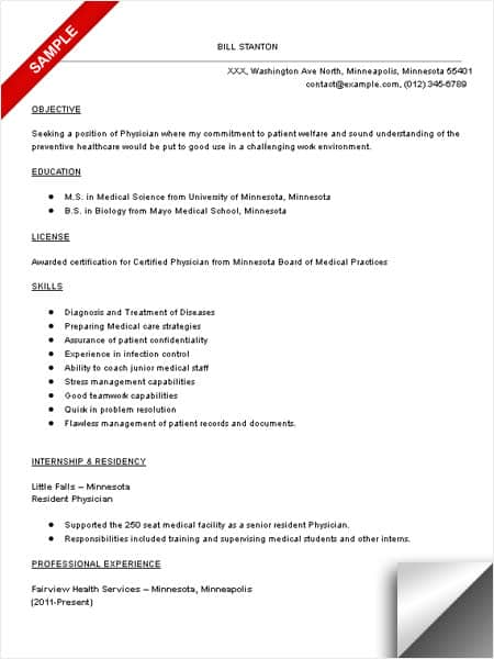 Physician Resume Sample Physician Resume Sample  Limeresumes