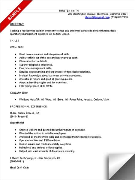 Receptionist Resume Sample  Skill Resume Examples