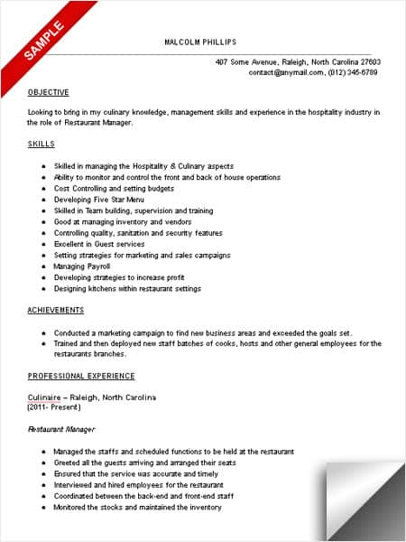 Restaurant Manager Resume Sample Limeresumes